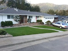 After the installation of a new synthetic lawn